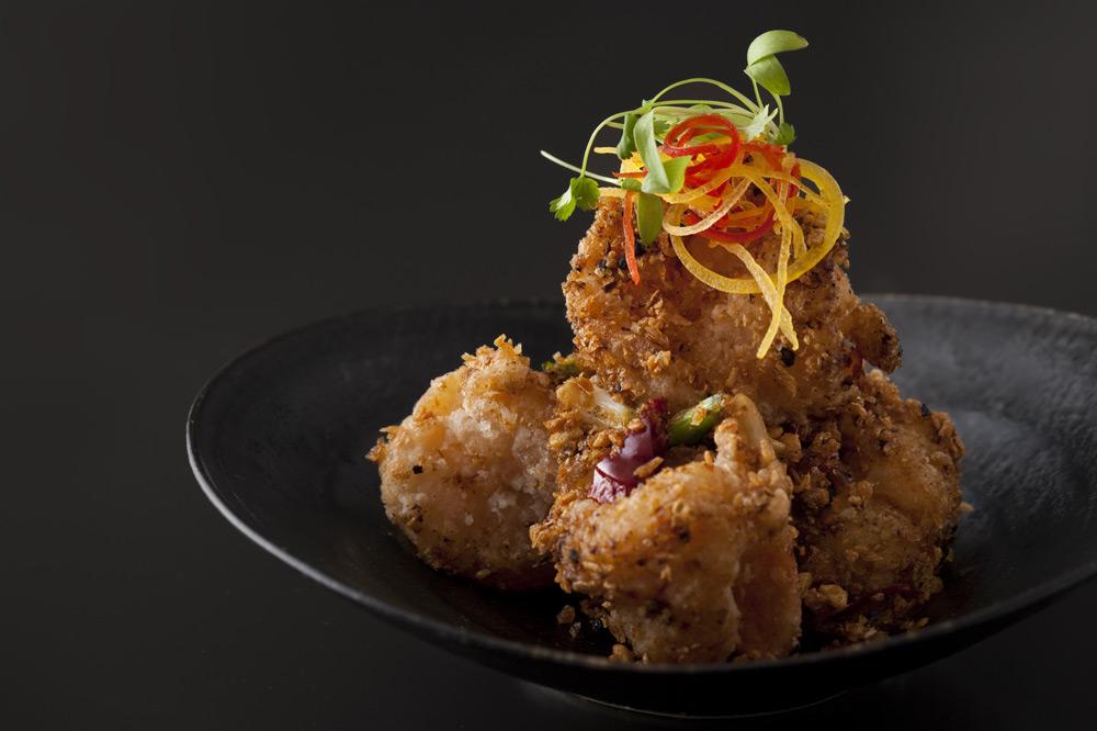 Crispy and spicy broad bean prawns at <em>La Chine</em>