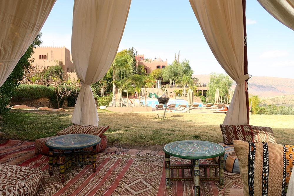 Tents near the main pool at Kasbah Tamadot in Asni, Morocco