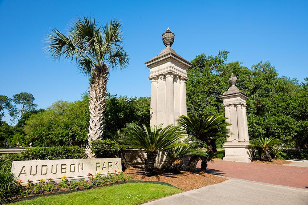 The St. Charles Avenue entrance of Audubon Park