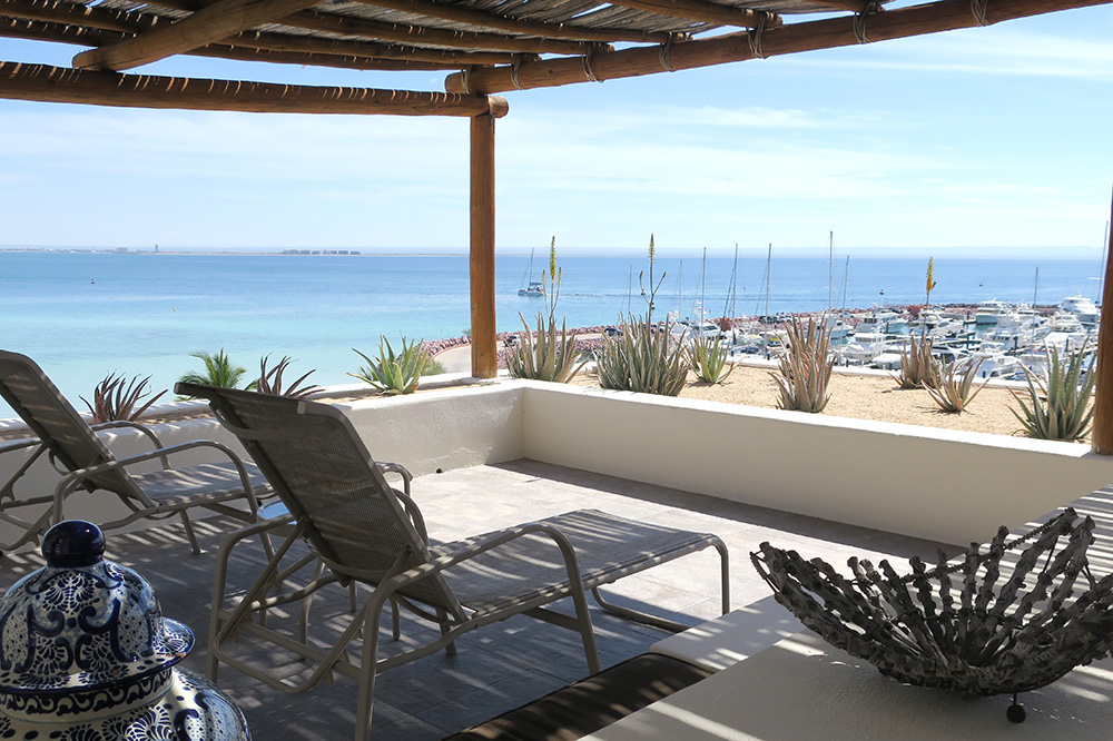 The balcony off our Super Suite at CostaBaja Resort & Spa in La Paz, Mexico