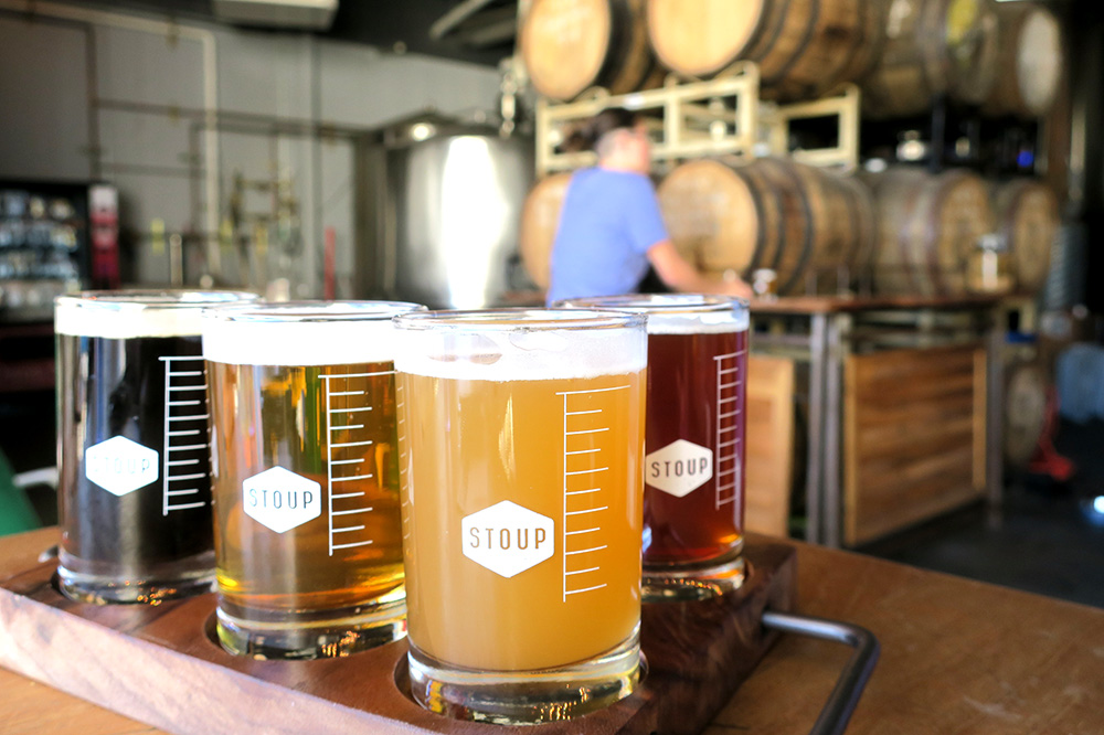 A beer flight from Stoup Brewing in Seattle