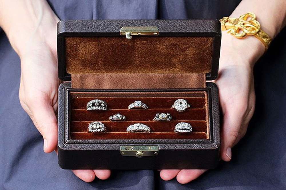 Display case for antique rings at Bell and Bird