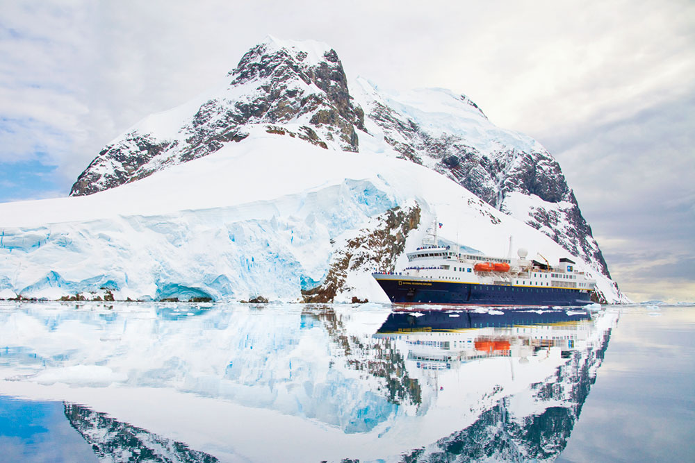 The <em>National Geographic Explorer</em> in the Lemaire Channel, Antarctica