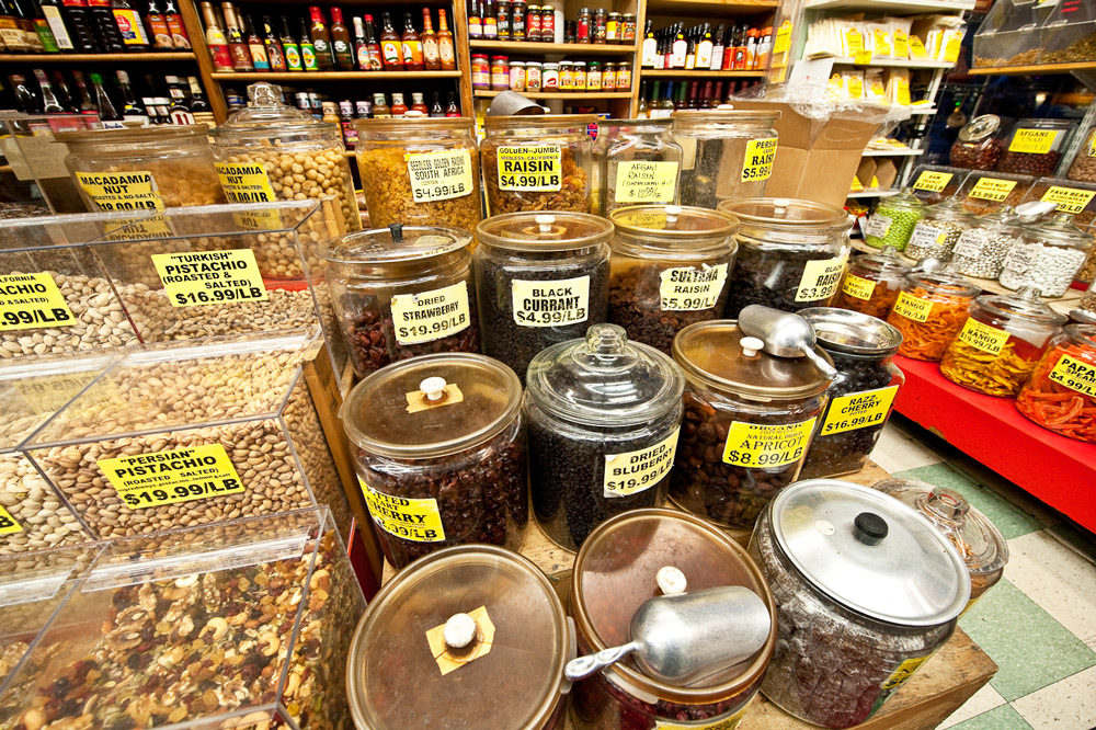 Various spices and nuts available from Kalustyan's