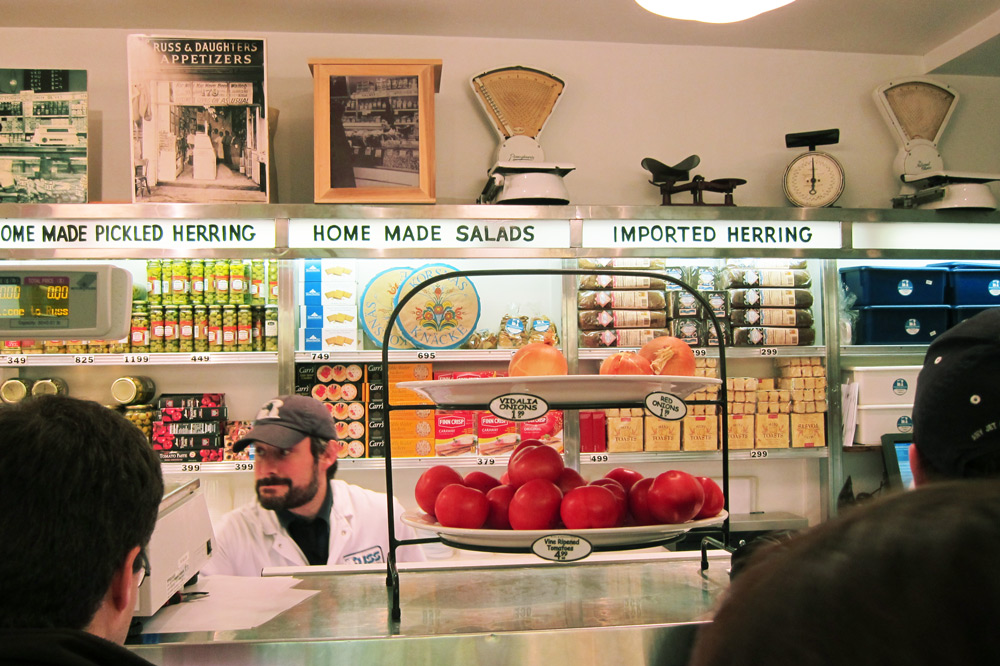 Behind the counter at Russ & Daughters