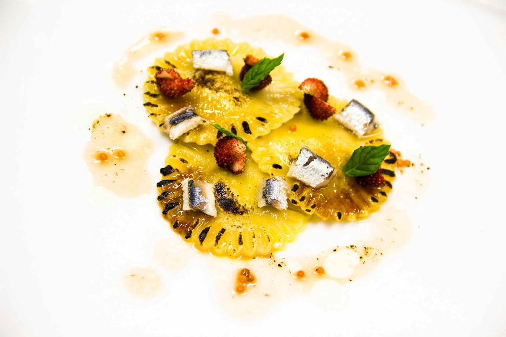 Bread ravioli with butter and anchovies at <em>Il Convivio Troiani</em>