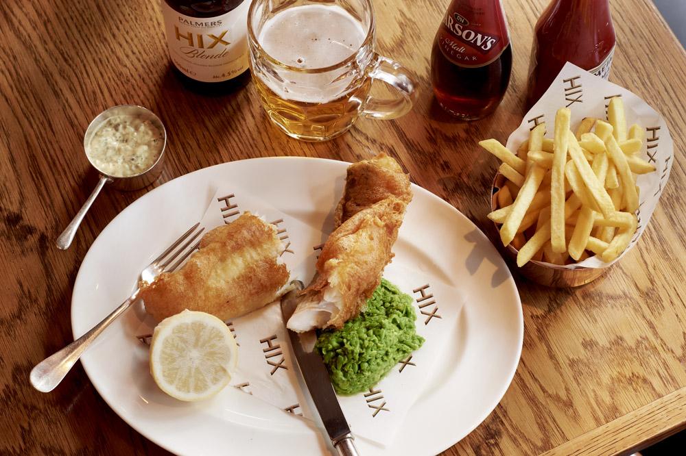<em>Hix</em> fish and chips with mushy peas