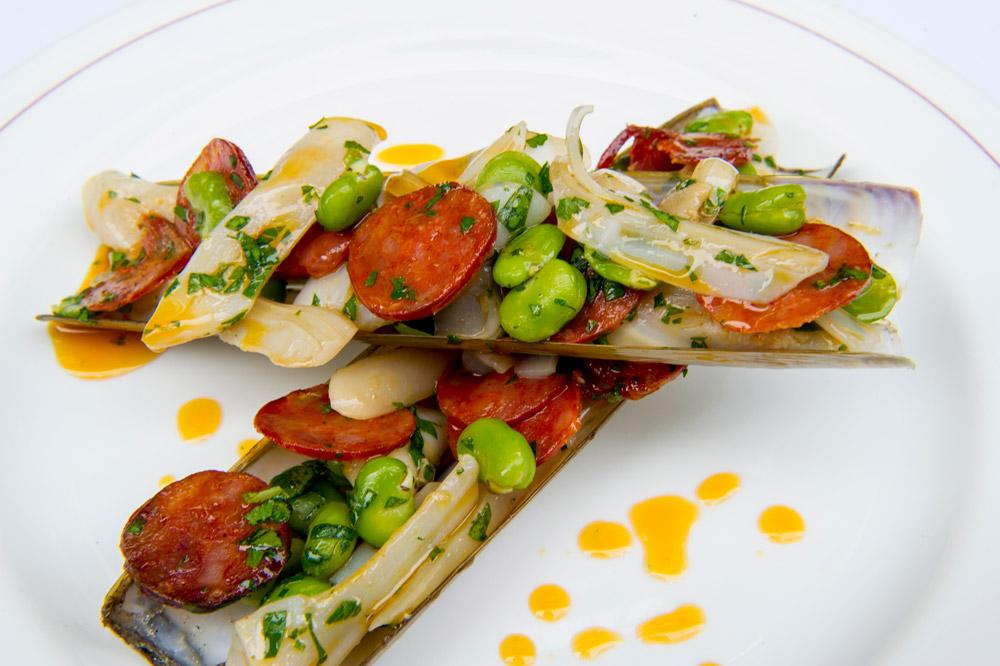<em>J. Sheekey</em> razor clams with chorizo and broad beans