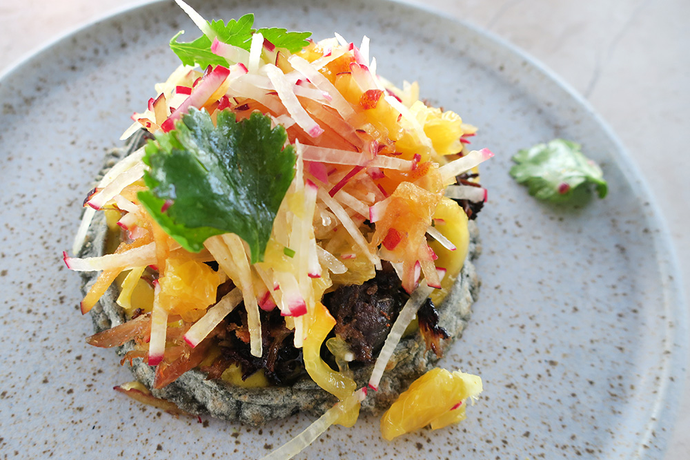 Blue-corn sope topped with duck confit from <em>COMAL</em> at Chileno Bay Resort in Los Cabos, Mexico - Photo by Andrew Harper