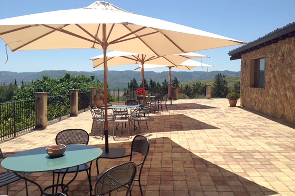The terrace overlooking the countryside at Agriturismo Borgo Antico in Mineo, Italy