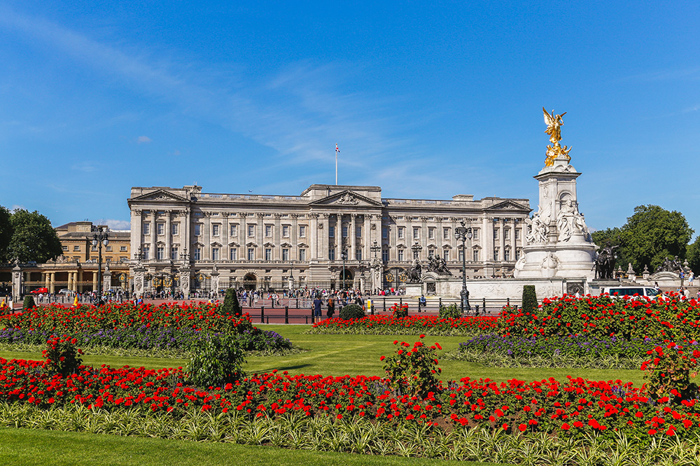Buckingham Palace, the residence and offices of the royal family of Great Britain
