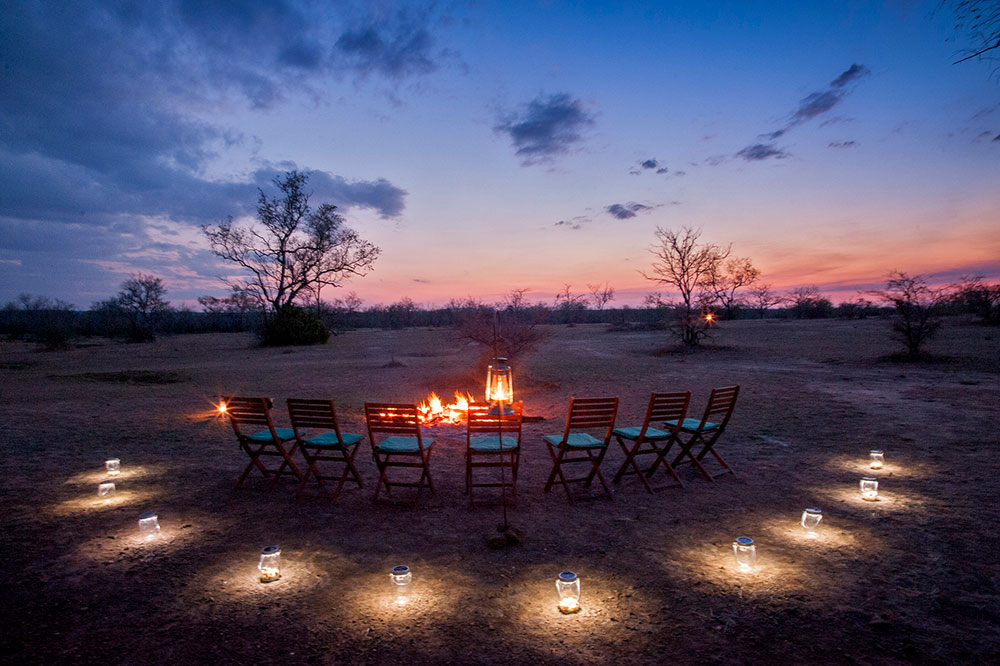 A bush dinner at Azura Selous in the Selous Game Reserve