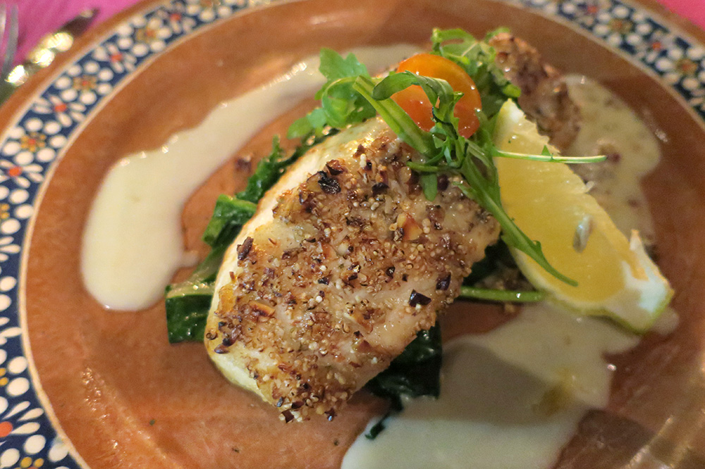 Sea bass crusted with almonds from <em>Restaurante Los Tres Gallos</em> in Cabo San Lucas, Mexico - Photo by Andrew Harper