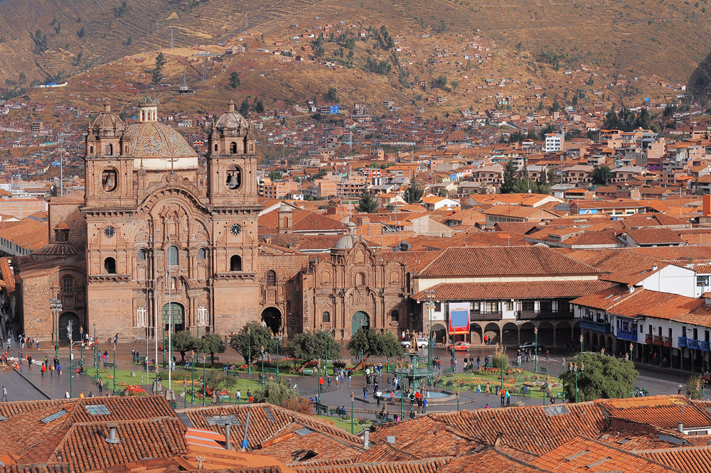 View of the central square, Plaza de Armas, in Cusco, Peru