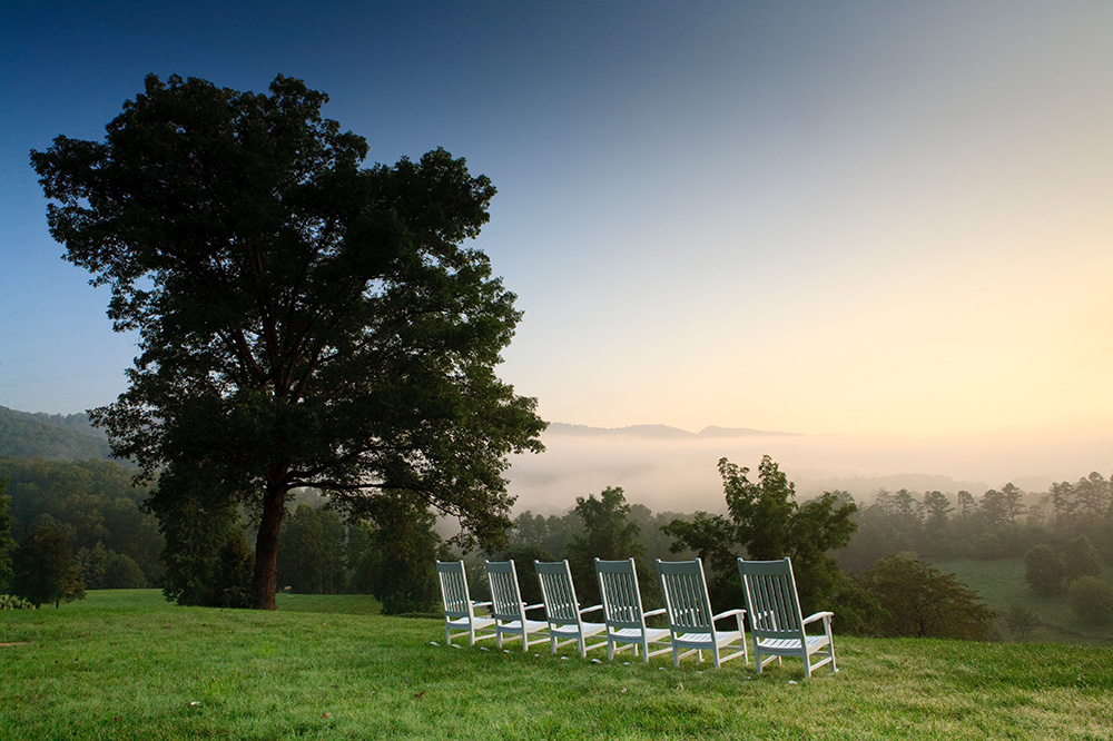 Chairs set out for a view at Blackberry Farm