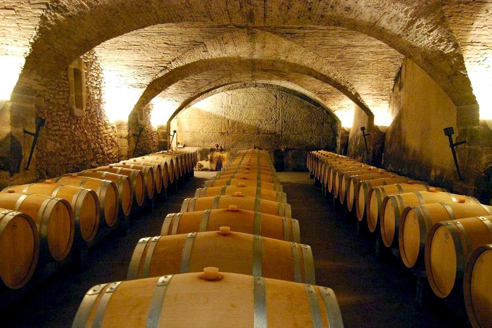 Wine cellar at Château La Nerthe