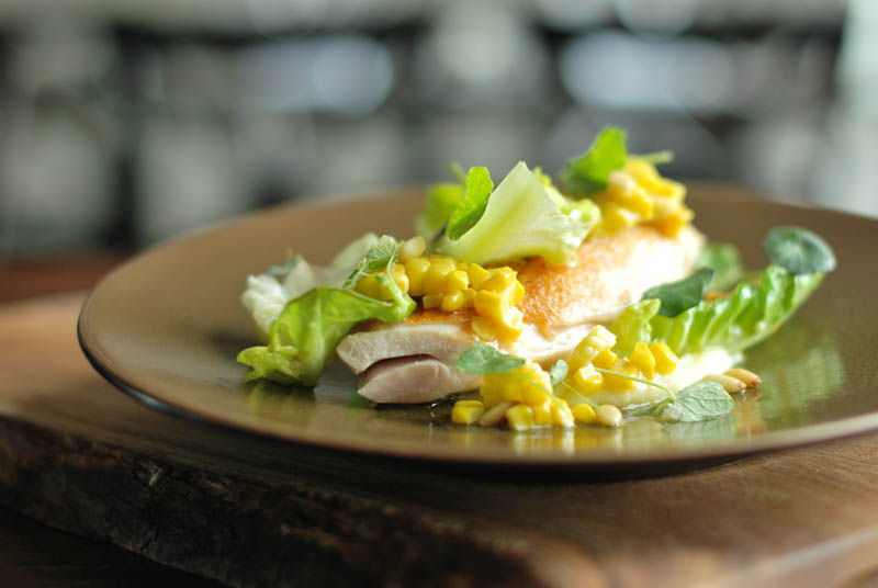 Chicken, sweet corn and lettuce dish - The Pig's Ear