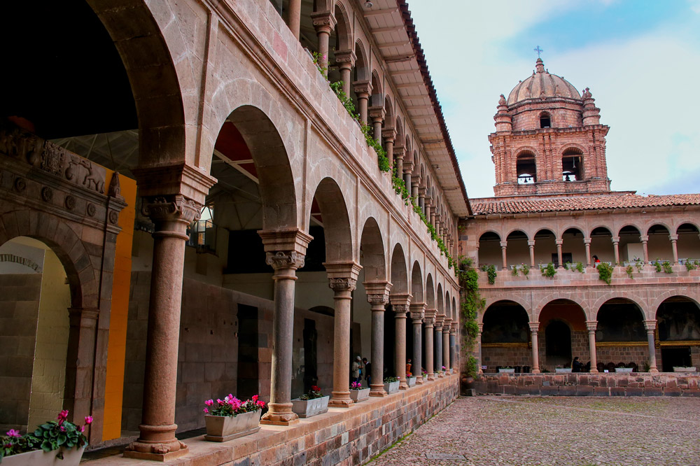 Courtyard of the Convent of Santo Domingo in the Coricancha complex in Cusco, Peru