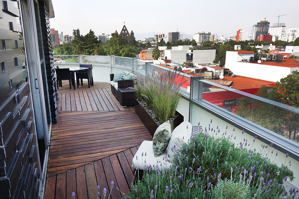 The wraparound balcony of our Corner Suite at Las Alcobas in Mexico City, Mexico