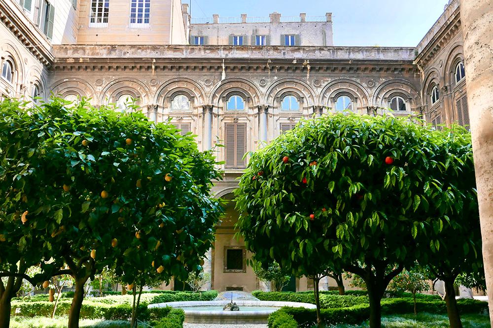 The courtyard of Palazzo Doria Pamphilj in Rome, Italy