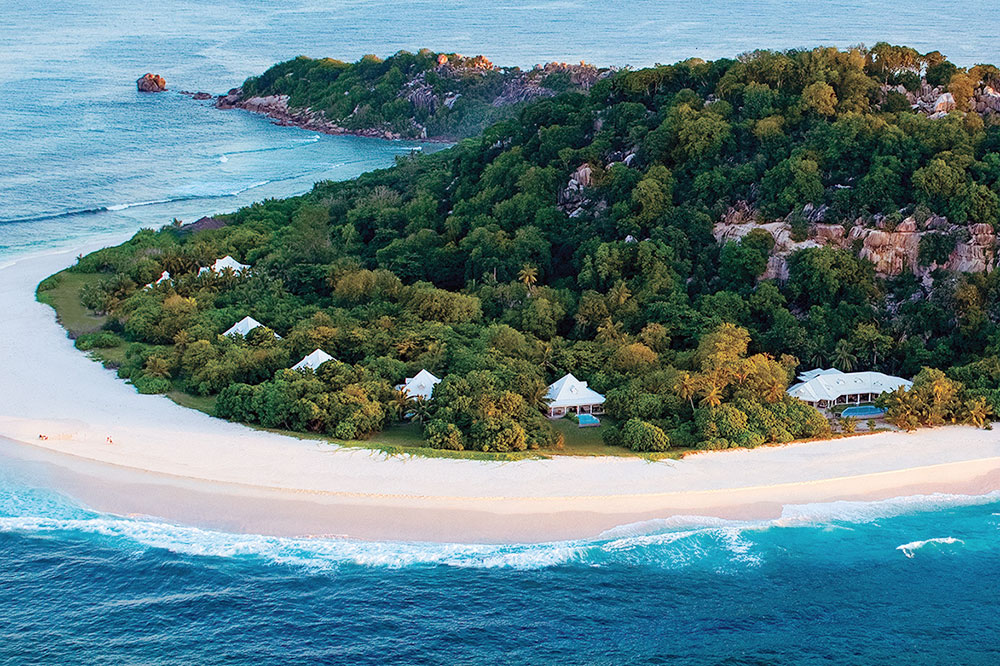 An aerial view of Cousine Island in the Seychelles