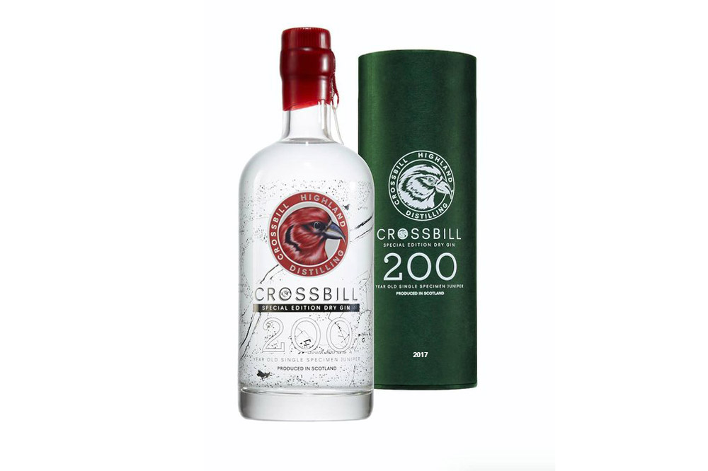 A bottle of Crossbill Gin 200 made from a single 200-year-old juniper specimen