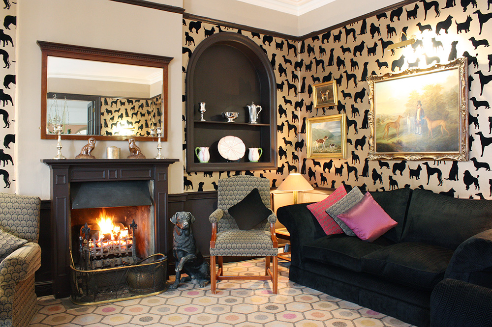 The dog lounge for guests and their dogs at Devonshire Arms Hotel and Spa on the Bolton Abbey Estate in North Yorkshire, England