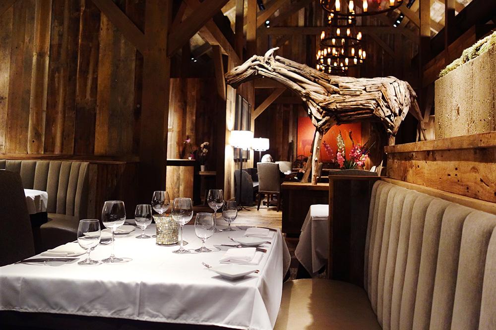 The interior of the dining room at <em>Artisanal</em> in Banner Elk, North Carolina