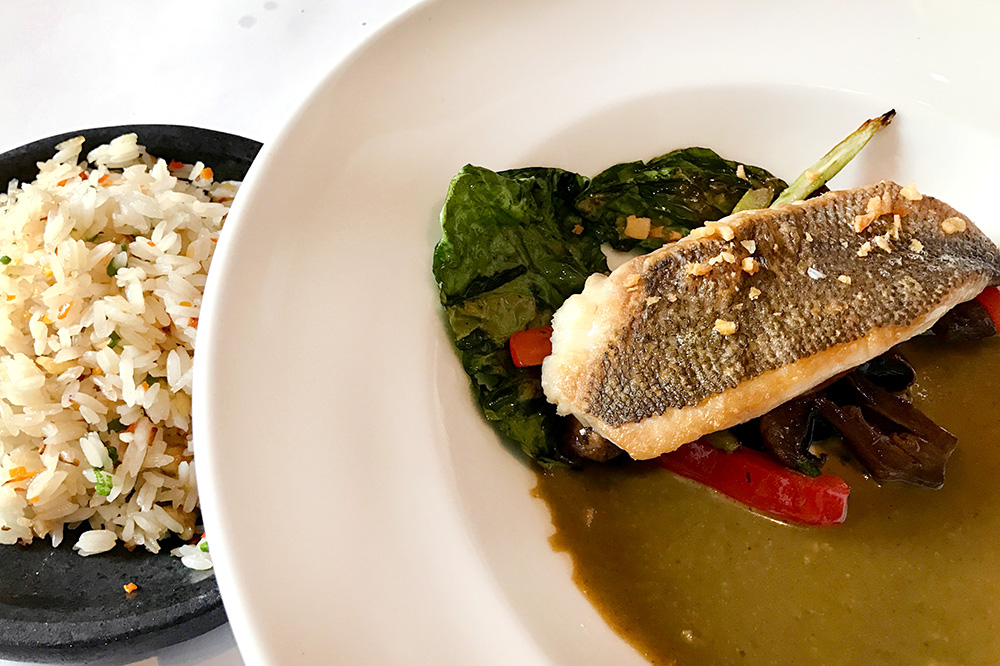 Crunchy catch of the day with green curry sauce at the Hotel B restaurant