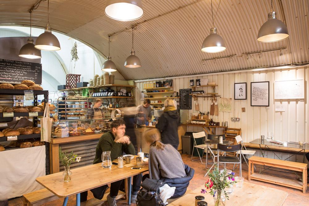 The café and interior of <em>E5 Bakehouse</em> in London, England