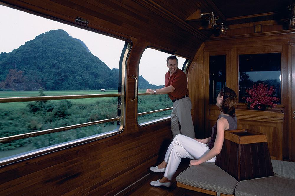 The observation car on Belmond's <em>Eastern & Oriental Express</em>