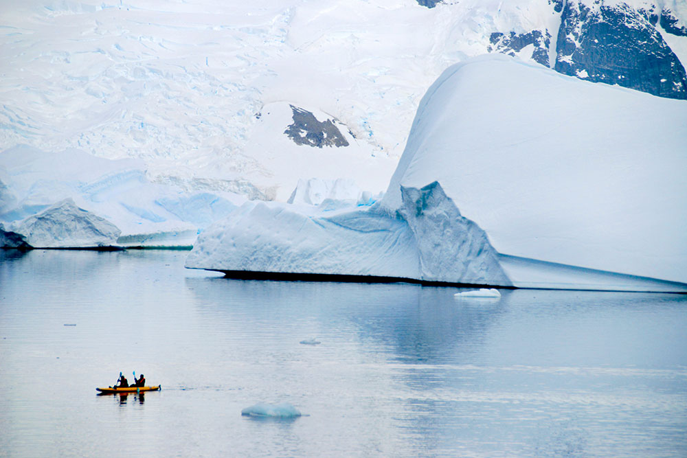 Kayaking near Booth Island, Antarctica