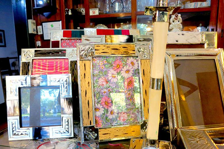 Cactus wood picture frames clad in silver at Casa Oberti in San Antonio de Areco