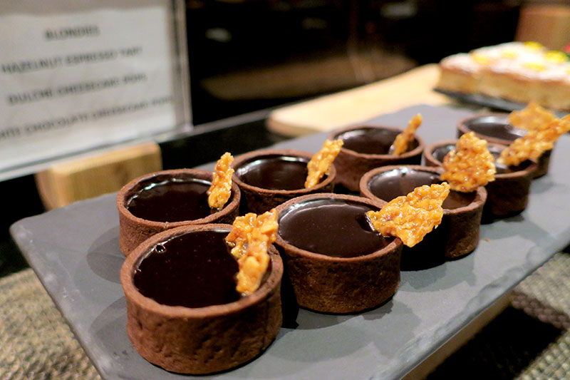 Hazelnut espresso tarts in the Fairmont Gold lounge at Fairmont Pacific Rim