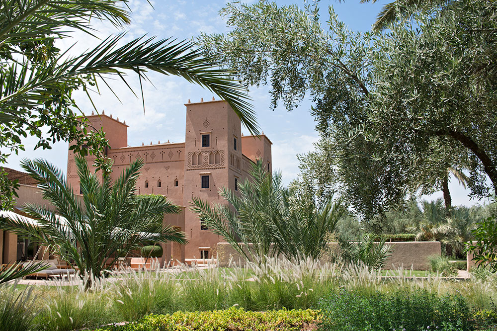 The exterior of Dar Ahlam in Skoura, Morocco