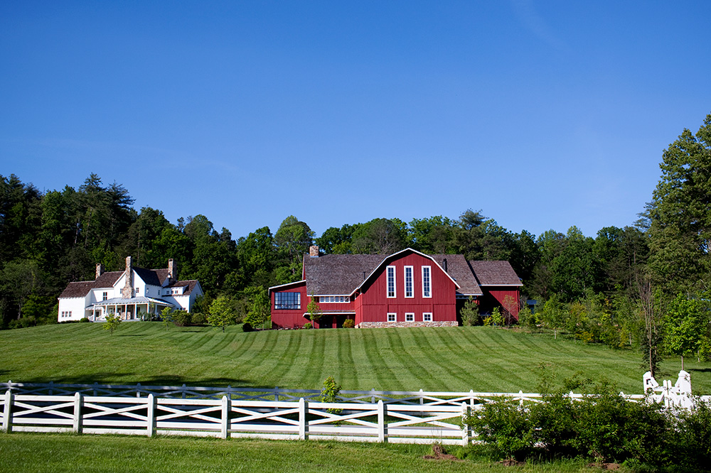 The spa, left, and the barn, where dinner is served, at Blackberry Farm