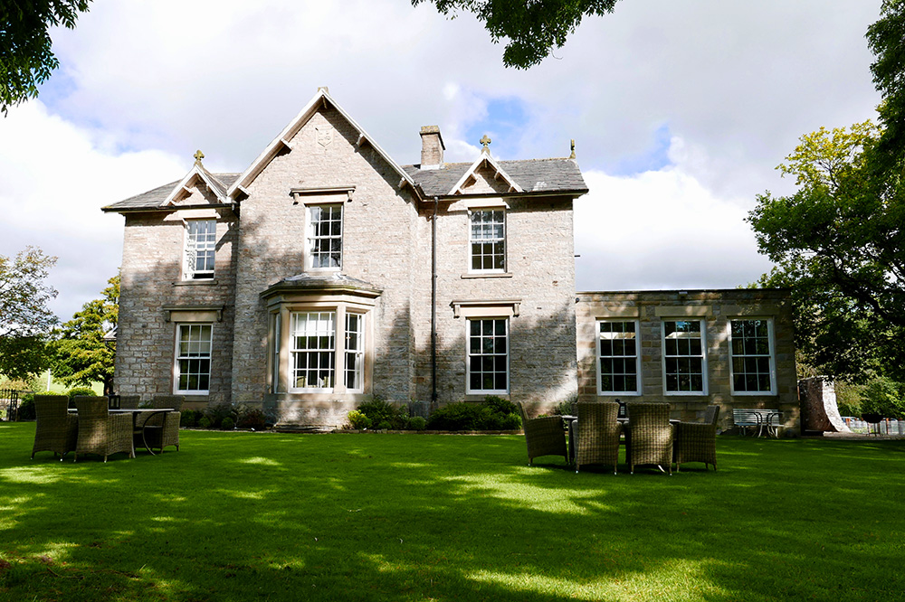 The exterior of Yorebridge House in North Yorkshire, England