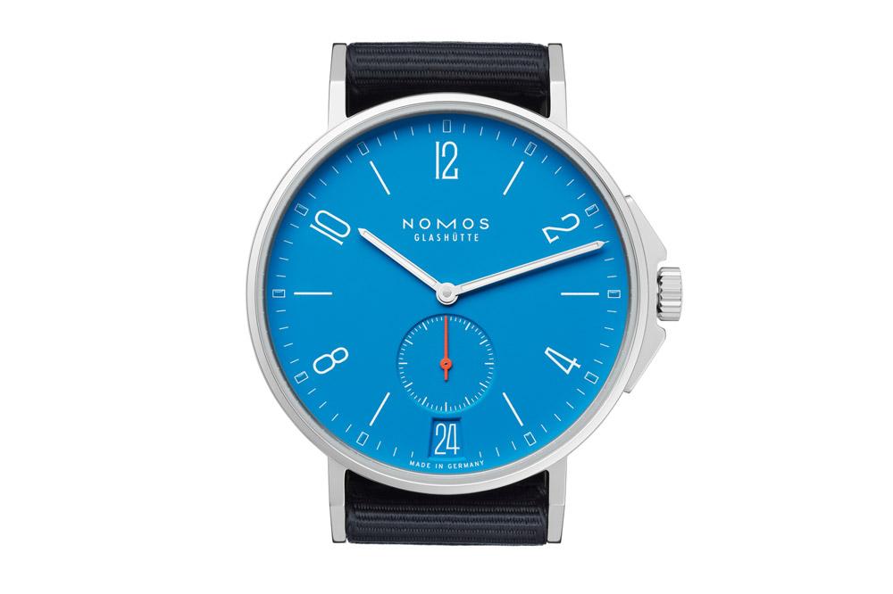 The NOMOS Glashütte Ahoi Datum signalblau watch
