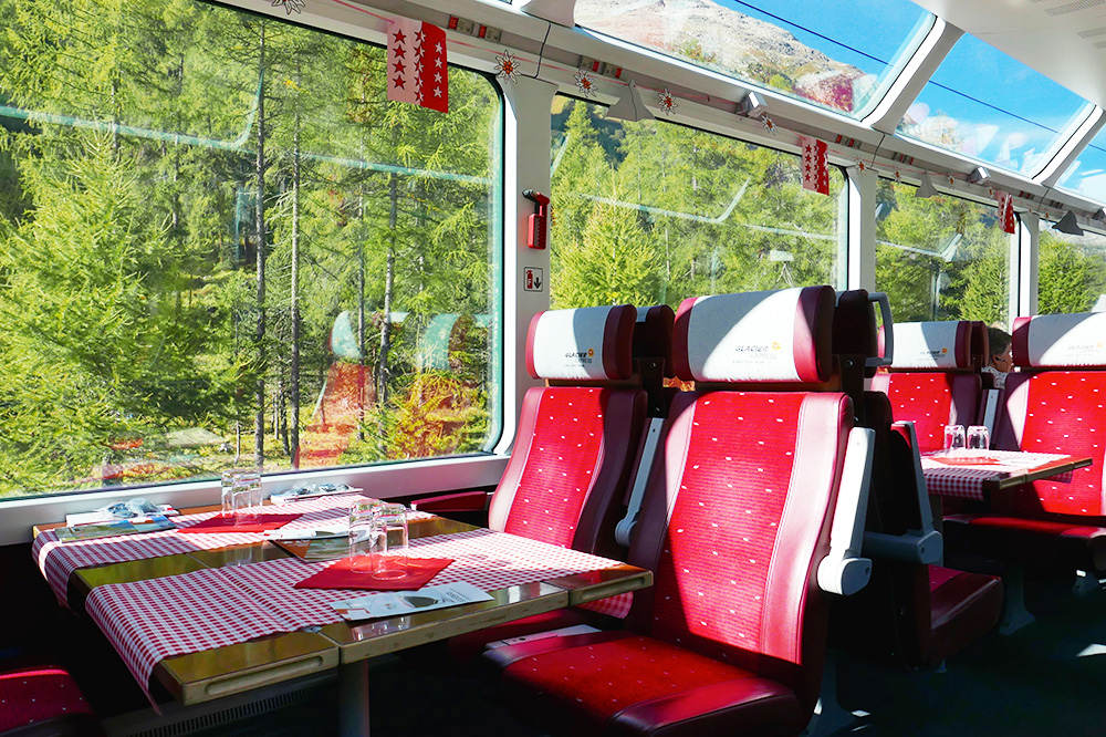 The first-class Panoramic Carriage on the <em>Glacier Express</em> from St. Moritz to Zermatt, Switzerland