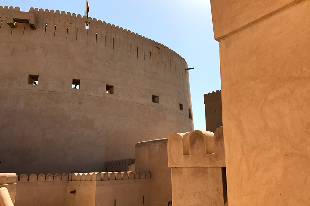Interior of Nizwa Fort, a 17th-century stronghold at the base of the Al Hajar mountains, Nizwa, Oman