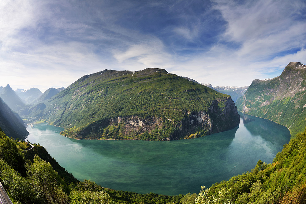 Geirangerfjord, Norway, at the end of the Hurtigruten cruise