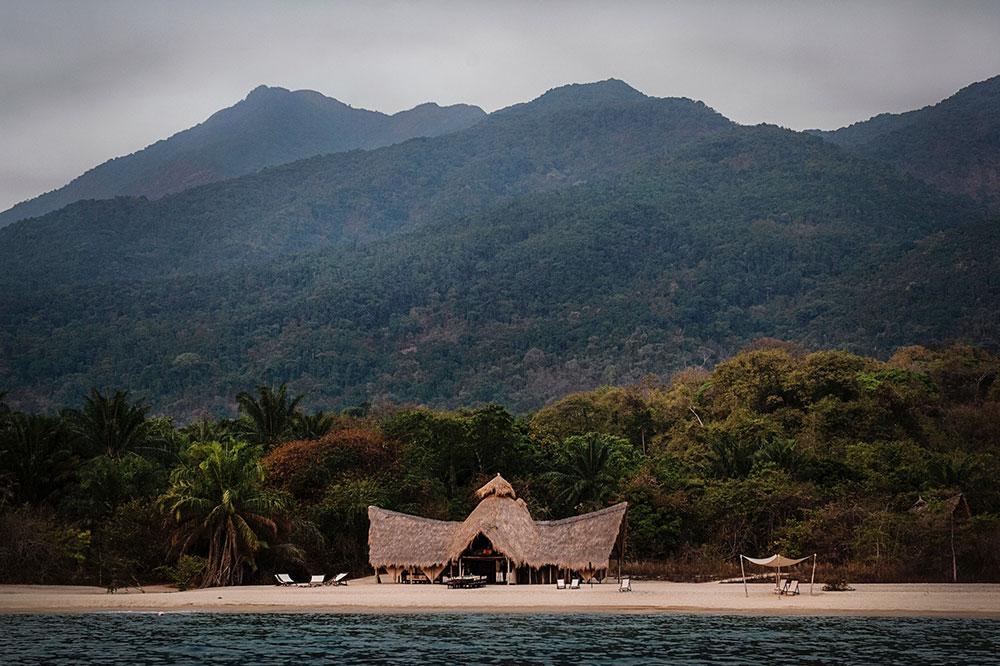 A view of Greystoke Mahale from Lake Tanganyika at Mahale Mountains National Park