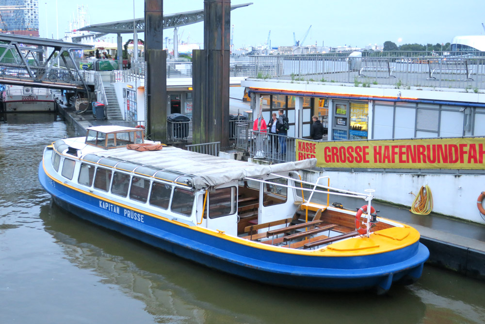 Our boat on the Lichterfahrt night cruise in Hamburg, Germany