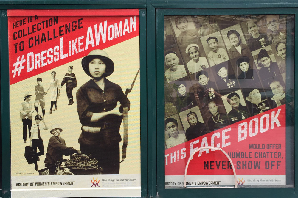 A poster at the Vietnamese Women's Museum promoting an exhibition