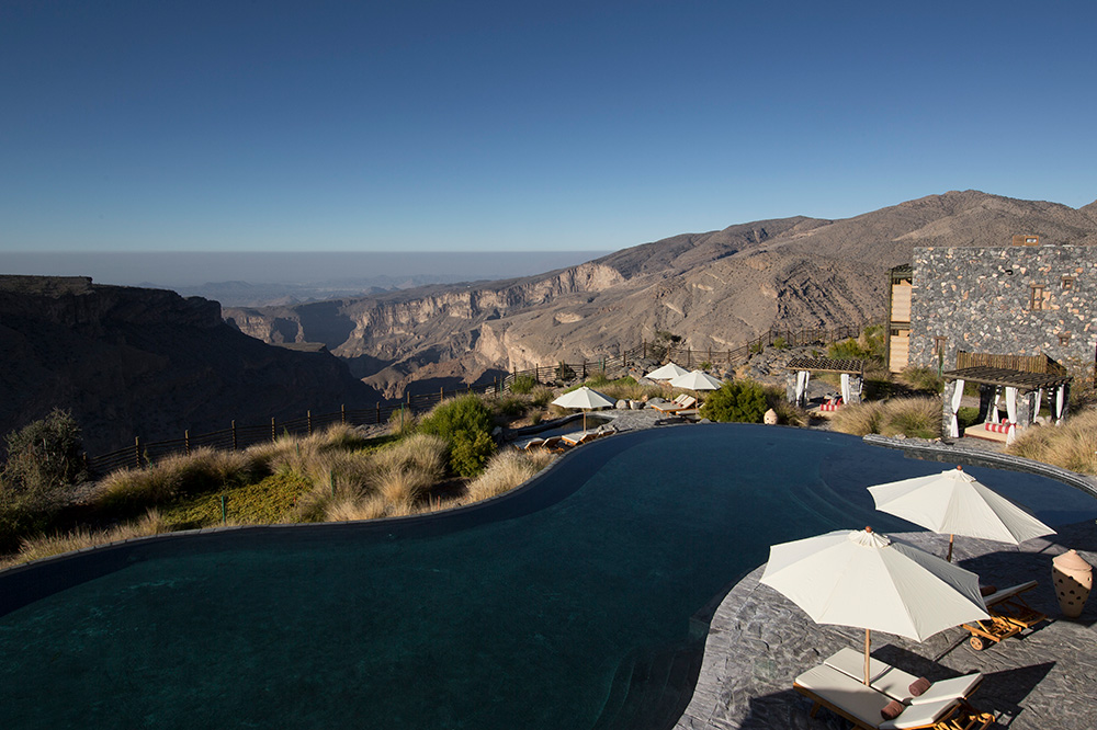 The horizon pool at Alila Jabal Akhdar in the Al Hajar Mountains of Oman