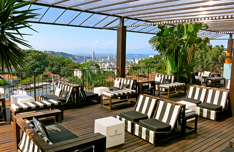 Pool lounge with views of Guanabara Bay at Hotel Santa Teresa