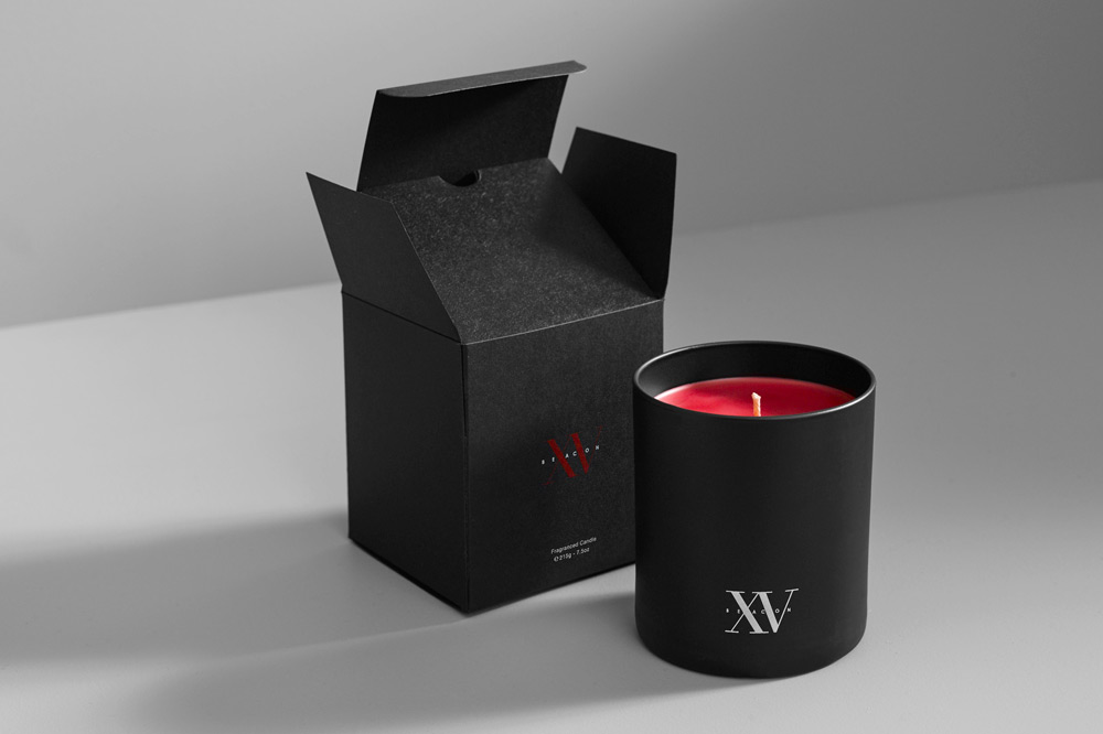 Custom-scented candle created for XV Beacon