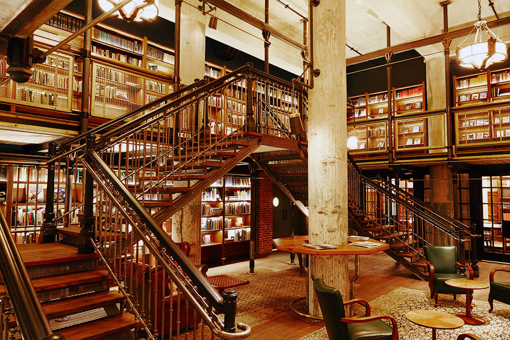 The library at Hotel Emma in San Antonio, Texas