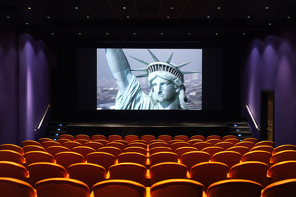 The 99-seat screening room at the Crosby Street Hotel in New York, New York