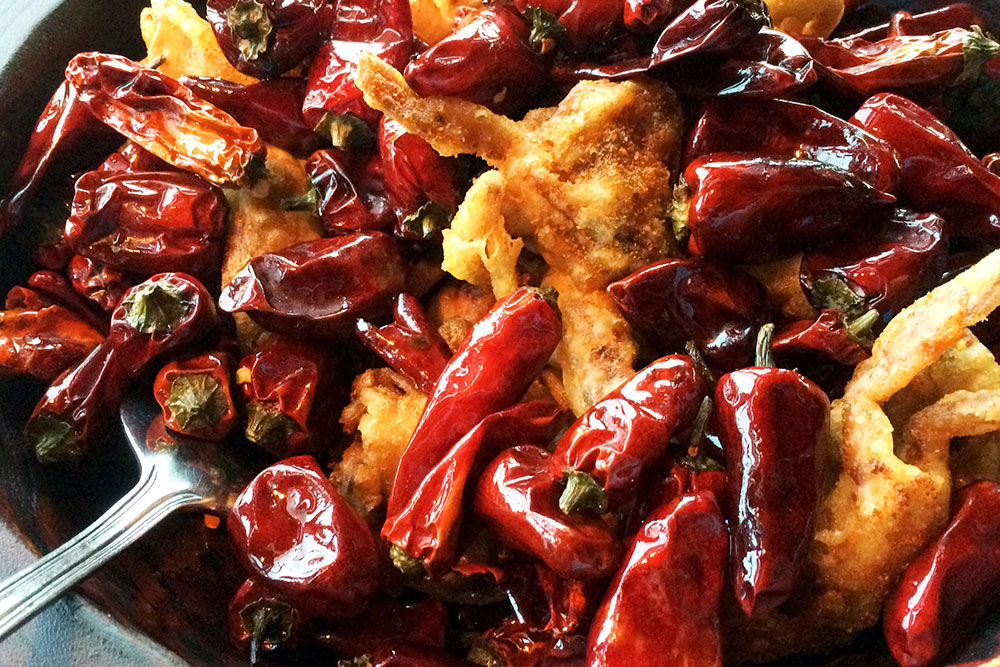 """""""Red Lantern"""" crispy soft-shell crabs with dried Sichuan peppers at <em>Hutong</em>"""